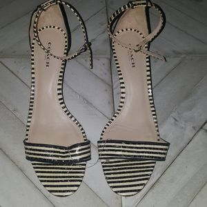 Coach Size 8.5 Black & White Stripe  Strapy Heels